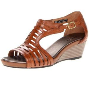 Clarks Leather Lucia Sunset Wedge Sandal Shoes